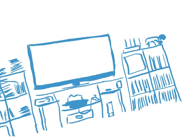 Our very own Entertainment Center, sketched with me sitting at an angle - not the room.